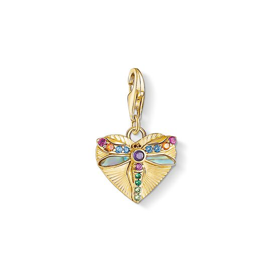Charm pendant Heart with dragonfly, gold from the Charm Club collection in the THOMAS SABO online store