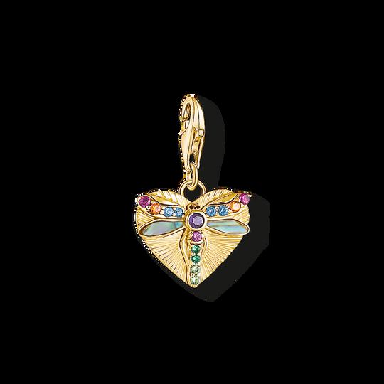 Charm-Anhänger Herz mit Libelle gold aus der Charm Club Kollektion im Online Shop von THOMAS SABO
