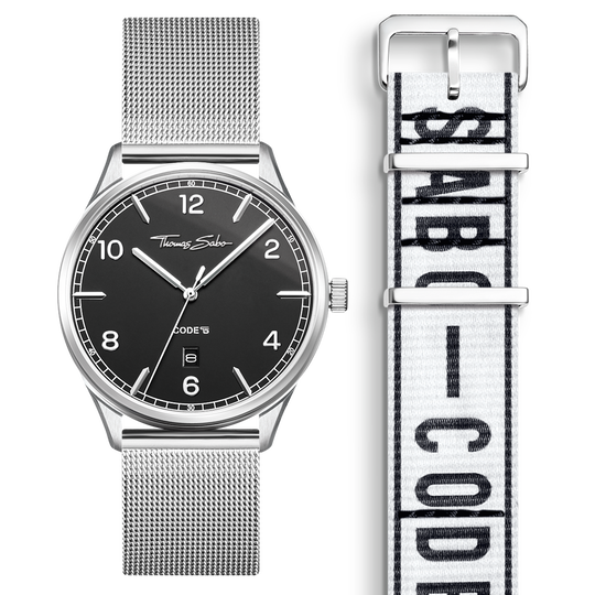 SET CODE TS black watch & white Urban bracelet from the  collection in the THOMAS SABO online store
