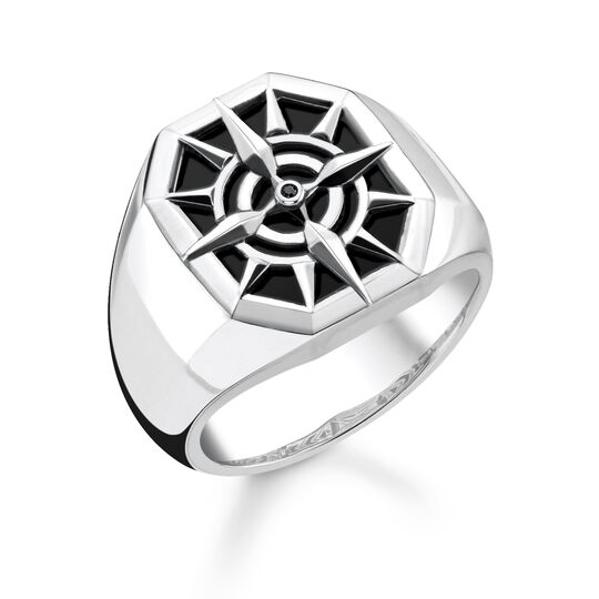 ring compass black from the Rebel at heart collection in the THOMAS SABO online store
