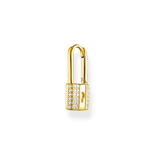 Single hoop earring lock with white stones gold from the Charming Collection collection in the THOMAS SABO online store