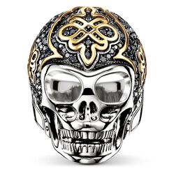 "ring ""black skull with diamond"" from the Rebel at heart collection in the THOMAS SABO online store"