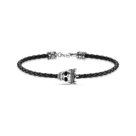 Leather bracelet black skull from the  collection in the THOMAS SABO online store