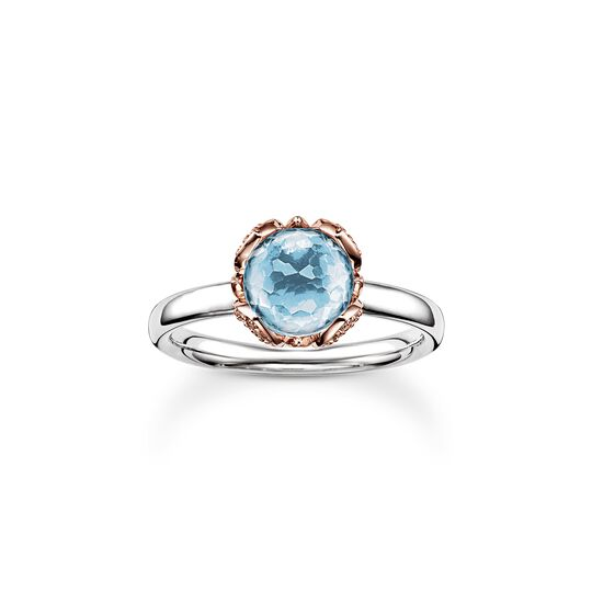 solitair ring blue Lotos Blossom from the  collection in the THOMAS SABO online store