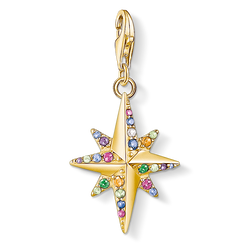 Charm pendant Colourful star, gold from the Charm Club Collection collection in the THOMAS SABO online store