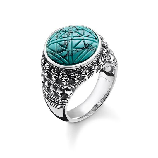 """ring """"Ethnic Skulls Turquoise"""" from the Rebel at heart collection in the THOMAS SABO online store"""