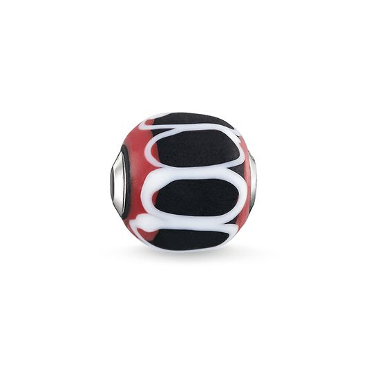 "Bead ""Glass Bead Black, red, white"" from the Karma Beads collection in the THOMAS SABO online store"