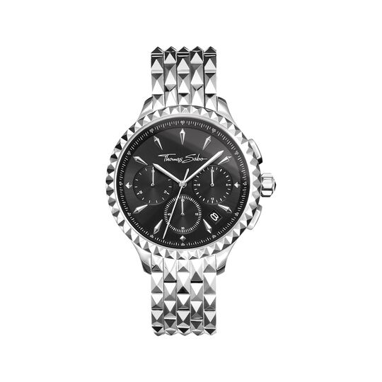Women's watch REBEL AT HEART WOMEN CHRONOGRAPH silver black from the Rebel at heart collection in the THOMAS SABO online store
