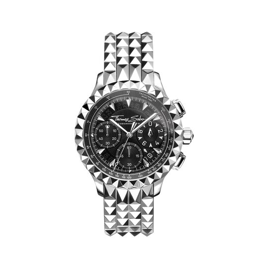 men's watch Rebel at Heart Chronograph silver black from the  collection in the THOMAS SABO online store