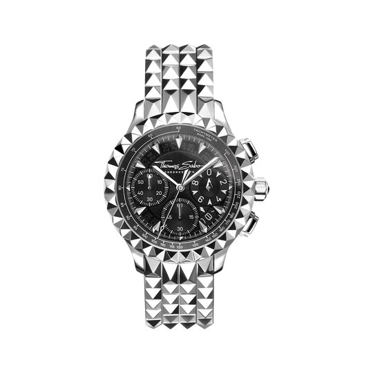 men's watch Rebel at Heart Chronograph silver black from the Rebel at heart collection in the THOMAS SABO online store