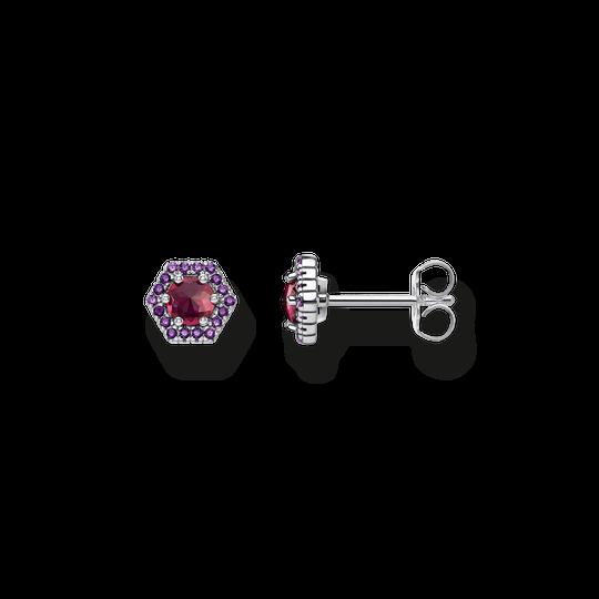 clous d'oreilles Hexagone rouge de la collection Glam & Soul dans la boutique en ligne de THOMAS SABO