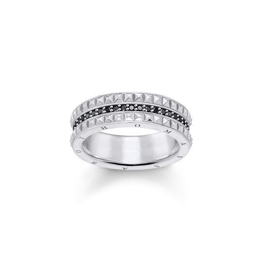 anillo efecto tachuelas negro de la colección  en la tienda online de THOMAS SABO