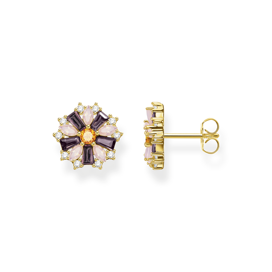 Clous d'oreilles fleur pierres multicolores or de la collection Glam & Soul dans la boutique en ligne de THOMAS SABO