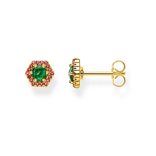 ear studs Hexagon, green from the Glam & Soul collection in the THOMAS SABO online store