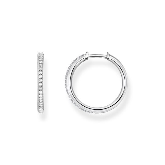 Hoop earrings white stones pavé silver from the  collection in the THOMAS SABO online store