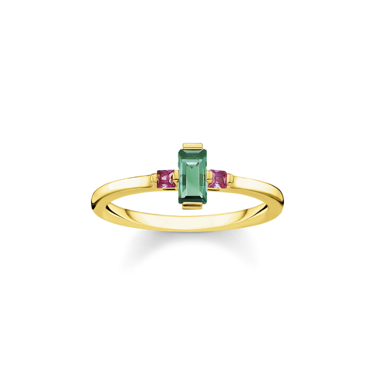 Ring stone baguette cut, green from the Glam & Soul collection in the THOMAS SABO online store