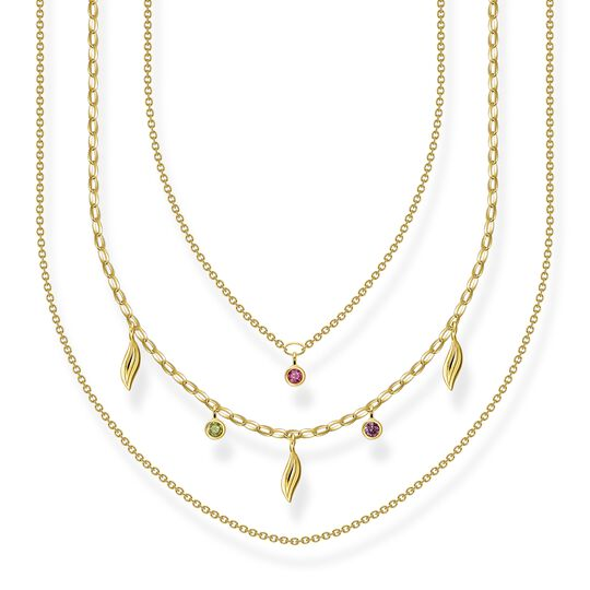 Necklace layering leaves gold from the  collection in the THOMAS SABO online store