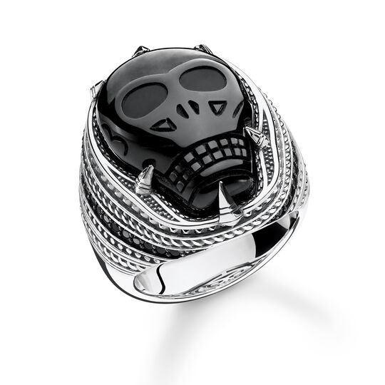 """ring """"onyx Skull"""" from the Rebel at heart collection in the THOMAS SABO online store"""