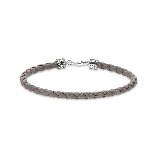Leather bracelet grey from the Rebel at heart collection in the THOMAS SABO online store