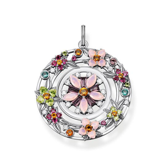 Pendant amulet flowers colourful stones silver from the  collection in the THOMAS SABO online store