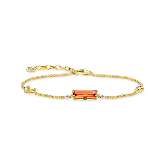 Bracelet orange stone with star and moon gold from the  collection in the THOMAS SABO online store