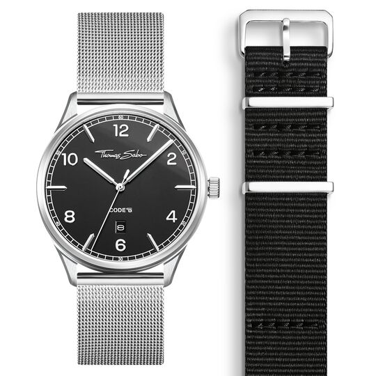 SET CODE TS black watch & black strap from the  collection in the THOMAS SABO online store