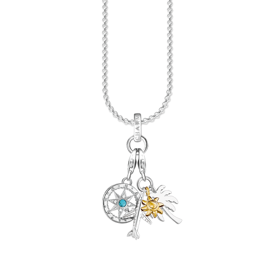 Charm necklace compass & palm, sun, plane from the Charm Club collection in the THOMAS SABO online store