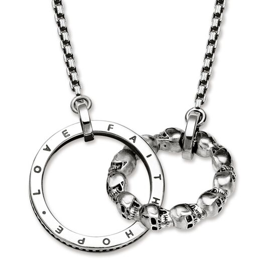 "necklace ""skull love, faith, hope"" from the Rebel at heart collection in the THOMAS SABO online store"