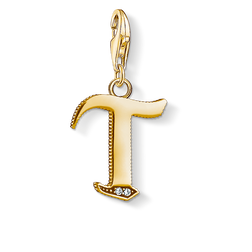 Charm pendant letter T gold from the Charm Club Collection collection in the THOMAS SABO online store