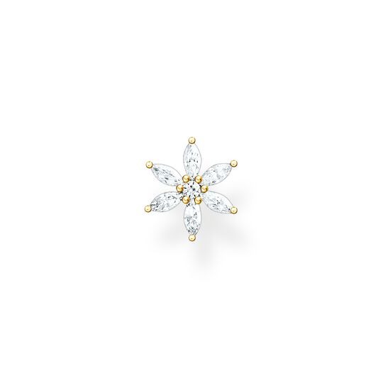Pendiente de botón flor piedras blancas oro de la colección Charming Collection en la tienda online de THOMAS SABO