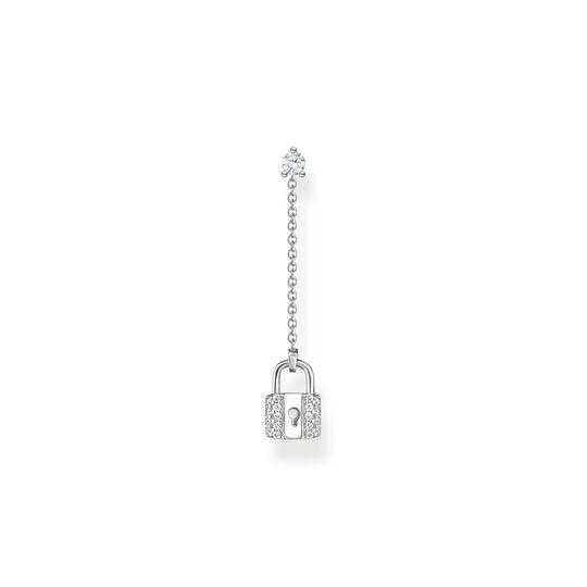 Boucle d'oreille unique cadenas avec pierres blanches argent de la collection Charming Collection dans la boutique en ligne de THOMAS SABO