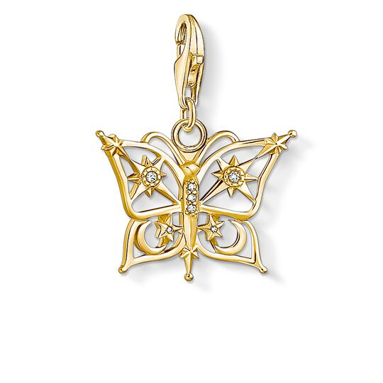Charm pendant butterfly star & moon gold from the Charm Club collection in the THOMAS SABO online store