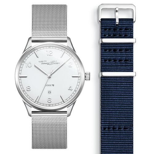 SET CODE TS white watch & dark blue strap from the  collection in the THOMAS SABO online store