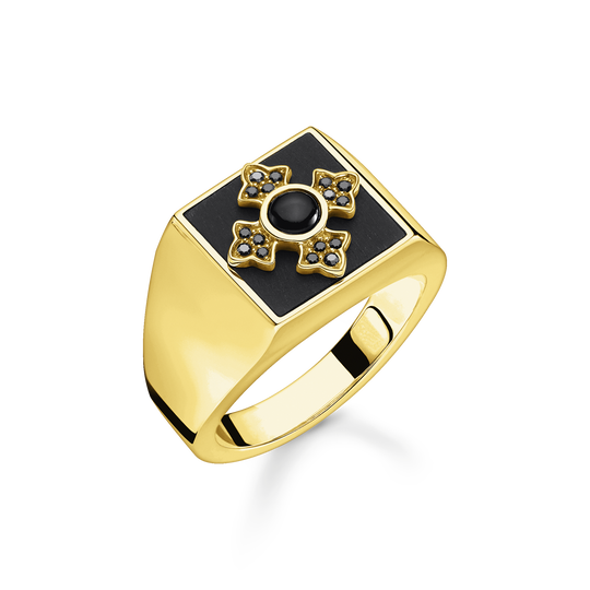 Ring Royalty cross gold from the Rebel at heart collection in the THOMAS SABO online store