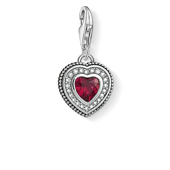 Charm pendant Heart with red stone from the  collection in the THOMAS SABO online store