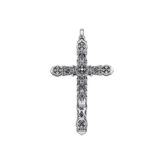 Pendant cross black stones silver from the  collection in the THOMAS SABO online store