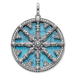 """pendant """"Karma Wheel with turquoise disc"""" from the Karma Beads collection in the THOMAS SABO online store"""