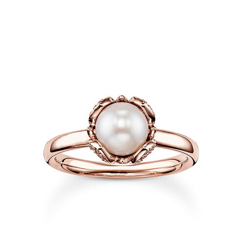 "pearl ring ""lotus flower"" from the Glam & Soul collection in the THOMAS SABO online store"