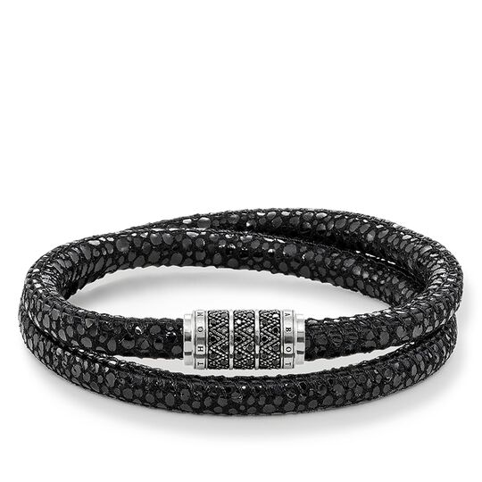 """bracciale in pelle """"zigzag nero"""" from the Rebel at heart collection in the THOMAS SABO online store"""