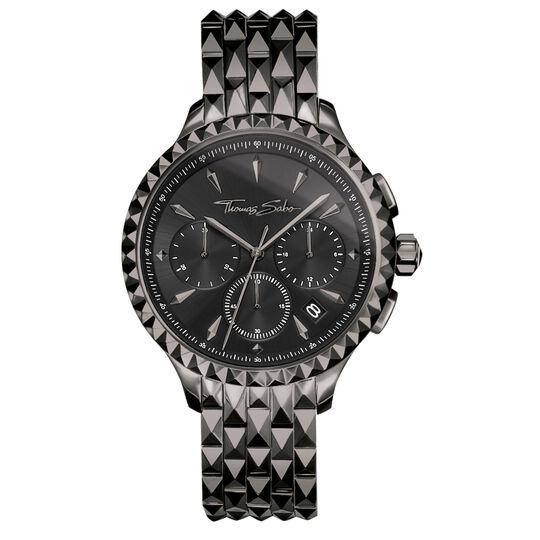 Women's watch REBEL AT HEART WOMEN CHRONOGRAPH black from the Rebel at heart collection in the THOMAS SABO online store