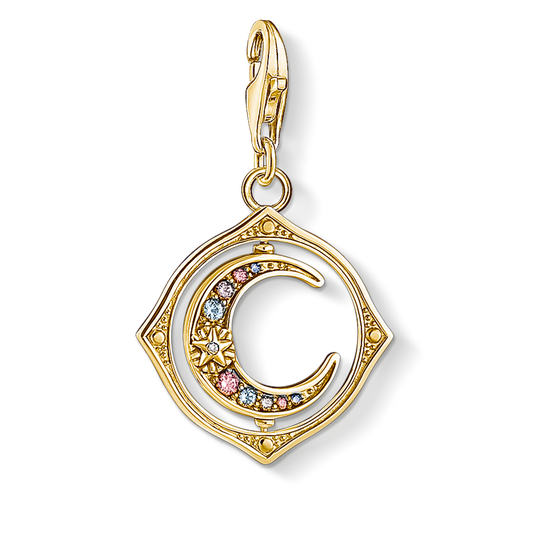 Charm pendant moon colourful stones gold from the Charm Club collection in the THOMAS SABO online store
