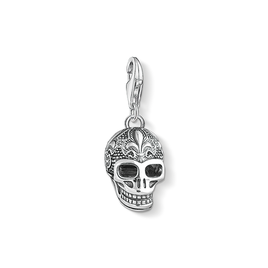 Charm pendant skull with lily from the Charm Club collection in the THOMAS SABO online store