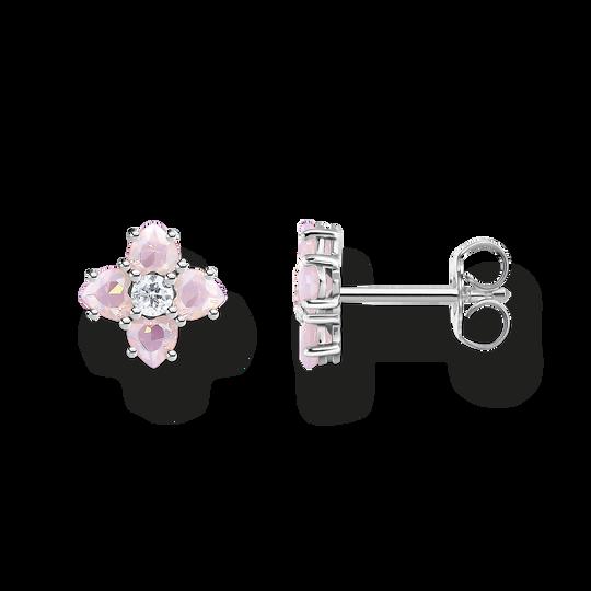 Clous d'oreilles fleur argent avec pierres de la collection Glam & Soul dans la boutique en ligne de THOMAS SABO