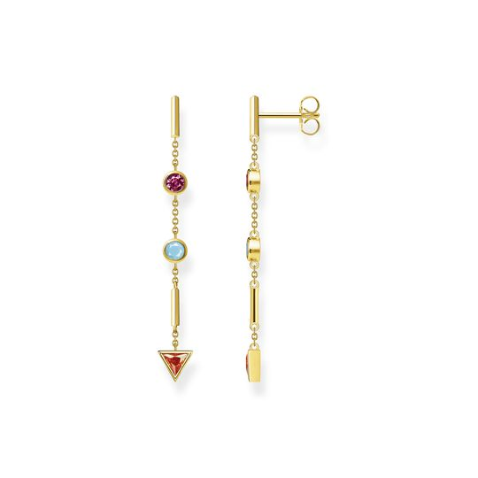 Earrings colourful stones, gold from the  collection in the THOMAS SABO online store
