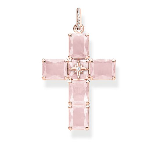 pendant cross large pink stones with star from the Glam & Soul collection in the THOMAS SABO online store