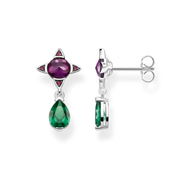 earrings Green drop with purple stone from the Glam & Soul collection in the THOMAS SABO online store