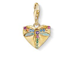 Charm pendant Heart with dragonfly, gold from the Charm Club Collection collection in the THOMAS SABO online store