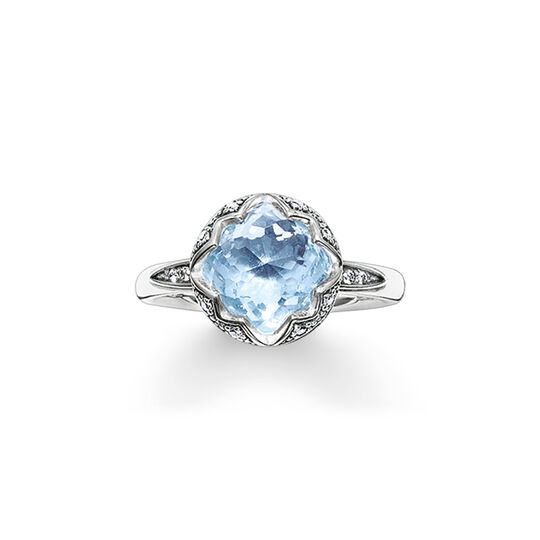 solitaire ring light blue Lotos from the  collection in the THOMAS SABO online store
