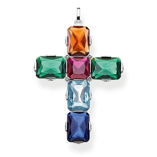 pendant Cross colourful stones, silver, large from the Glam & Soul collection in the THOMAS SABO online store