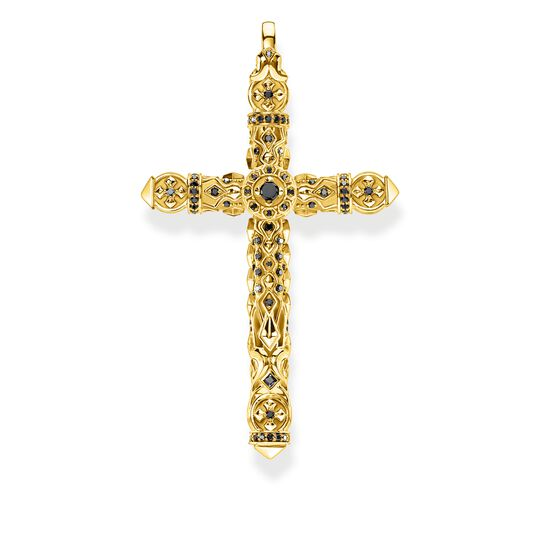 Pendant cross black stones gold from the Rebel at heart collection in the THOMAS SABO online store